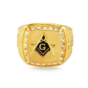New 18K Gold-plated Masonic AG Ring Inlay Size 9